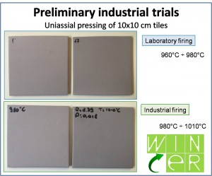 10cm x 10cm tiles obtained from preliminary industrial tests at month 6